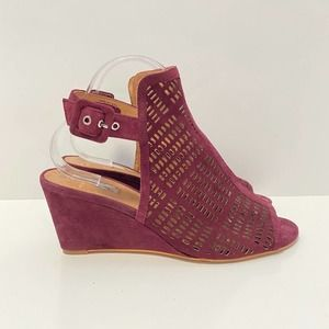 Halogen Maroon Red Perforated Open Toe Wedges